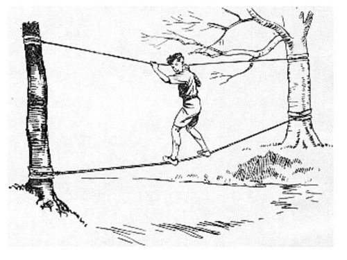 Навесная переправа по двум канатам